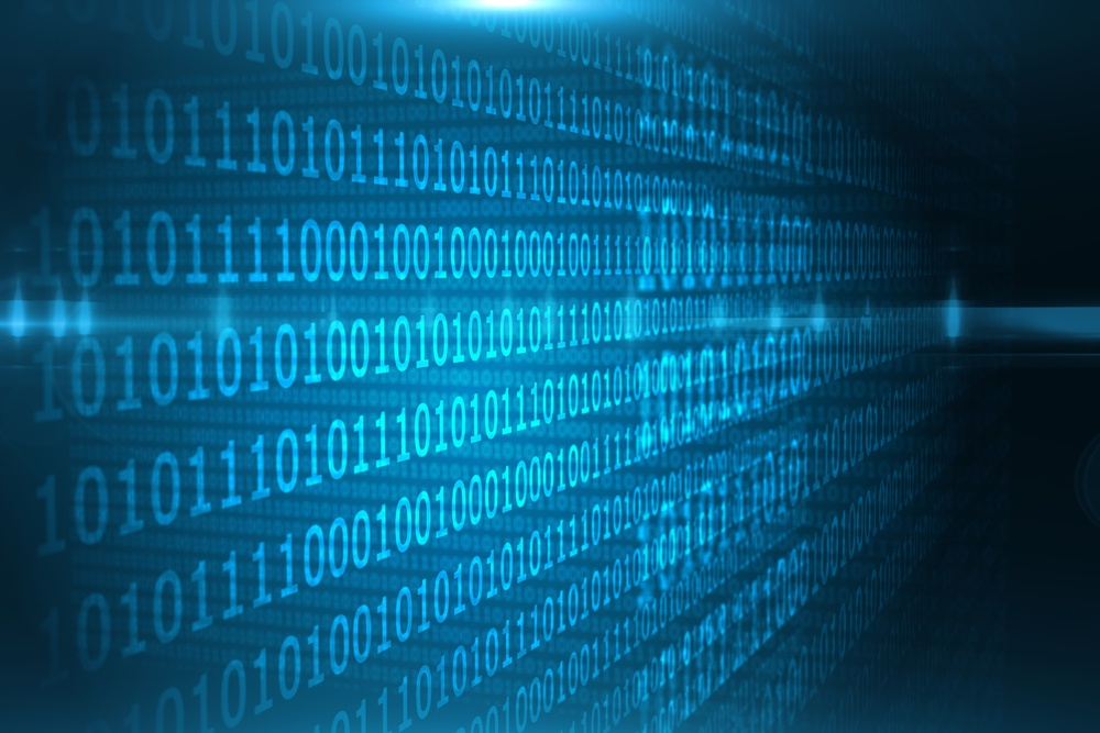 Shiny blue binary code on black background.jpeg